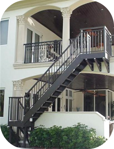Exterior stair railings avion metal works of florida - Metal railings for stairs exterior ...